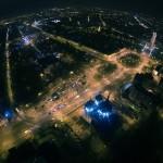 Centrul Civic privit de sus seara