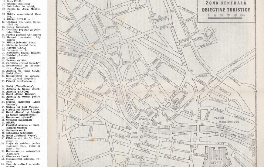 Harta turistica a orasului Oradea anul 1979